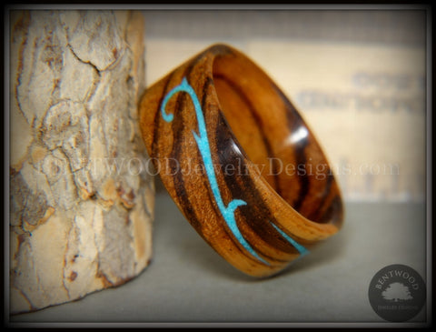 "Bentwood Ring - ""Scroll"" Zebrawood Ring with Turquoise Inlay"