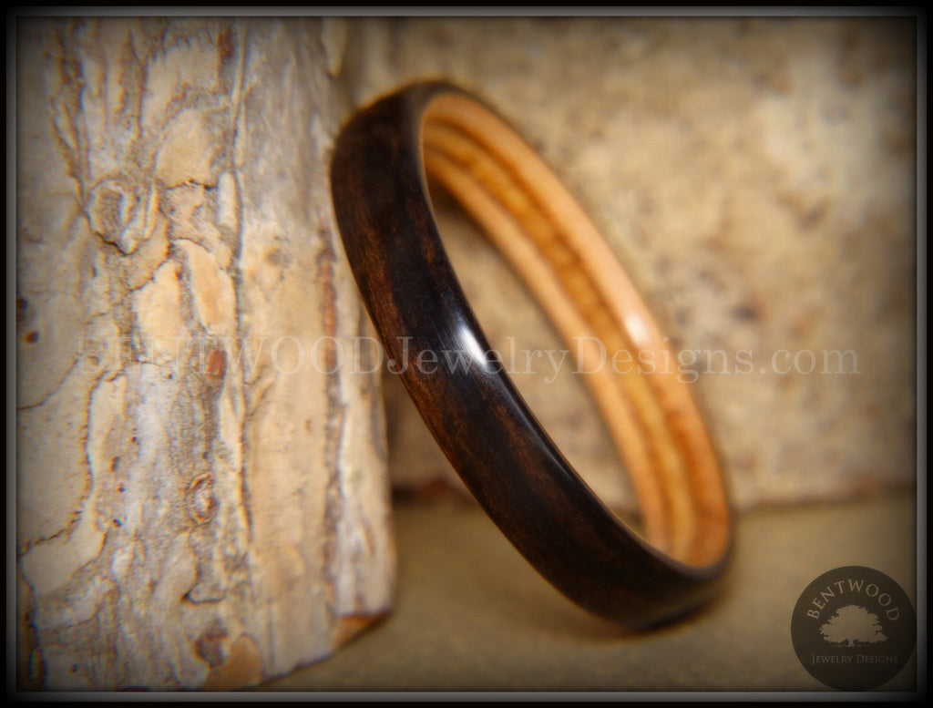 Bentwood Ring - Ebony on Birch Ply Core handcrafted bentwood wooden rings wood wedding ring engagement