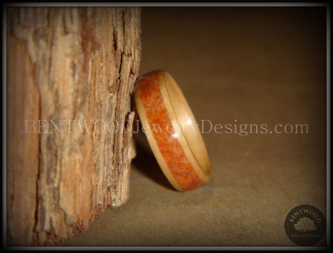 Bentwood Ring - Birch Wood Ring with Lake Superior Agate Inlay