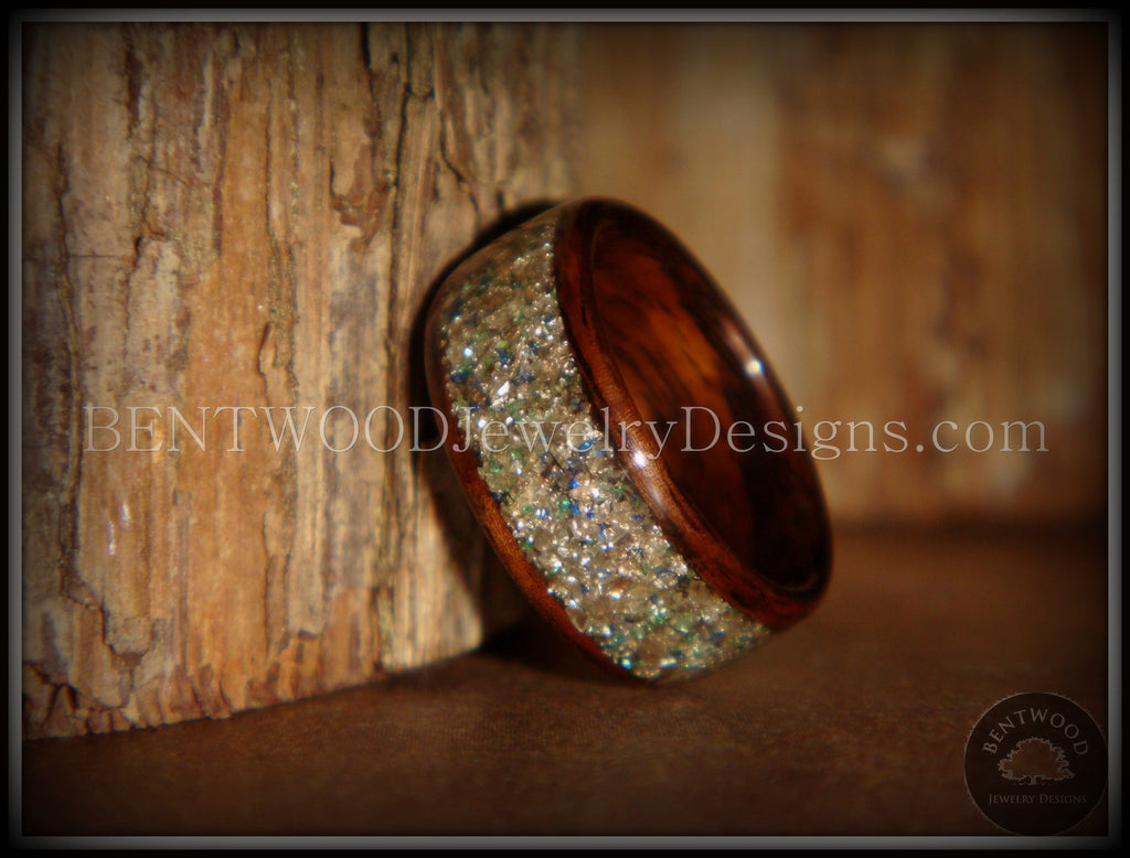 Bentwood Ring - Rosewood Wooden Ring with Silver, Green and Blue Glass Inlay handcrafted bentwood wooden rings wood wedding ring engagement