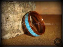 Bentwood Ring - E. Indian Rosewood Ring with Turquoise Inlay - Bentwood Jewelry Designs - Custom Handcrafted Bentwood Wood Rings  - 4