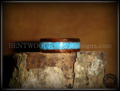 Bentwood Ring - E. Indian Rosewood Ring with Turquoise Inlay handcrafted bentwood wooden rings wood wedding ring engagement