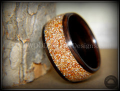 Bentwood Ring - Macassar Ebony with Golden Bronze Glass Inlay - Bentwood Jewelry Designs - Custom Handcrafted Bentwood Wood Rings