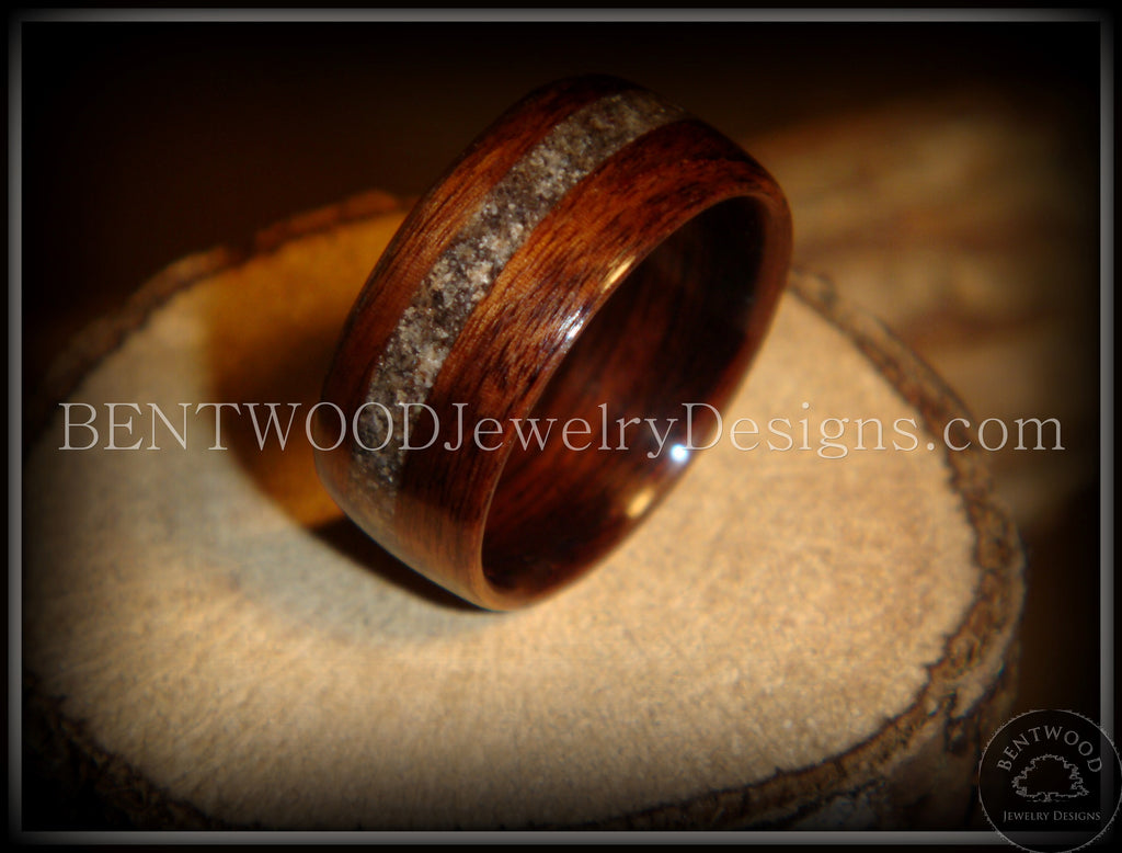 Bentwood Rings - Macassar Ebony Wood Ring with Dark Sand Inlay - Bentwood Jewelry Designs - Custom Handcrafted Bentwood Wood Rings  - 1