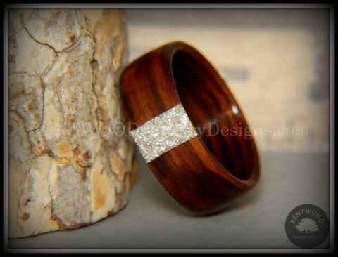 Bentwood Ring - Kingwood Wood Ring and Transverse Silver Glass Inlay