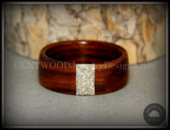 Bentwood Ring - Kingwood Wood Ring and Transverse Silver Glass Inlay handcrafted bentwood wooden rings wood wedding ring engagement