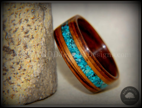 Bentwood Ring - Kingwood, Koa Wood and Chrysocolla Inlay