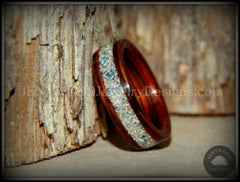 Bentwood Ring - Kingwood Wooden Ring with Bentwood Kingwood Wood Rings with Silver/Blue Glass Inlay - Bentwood Jewelry Designs - Custom Handcrafted Bentwood Wood Rings
