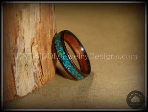 Bentwood Ring - Macassar Ebony Wood Ring and Chrysocolla Stone Inlay