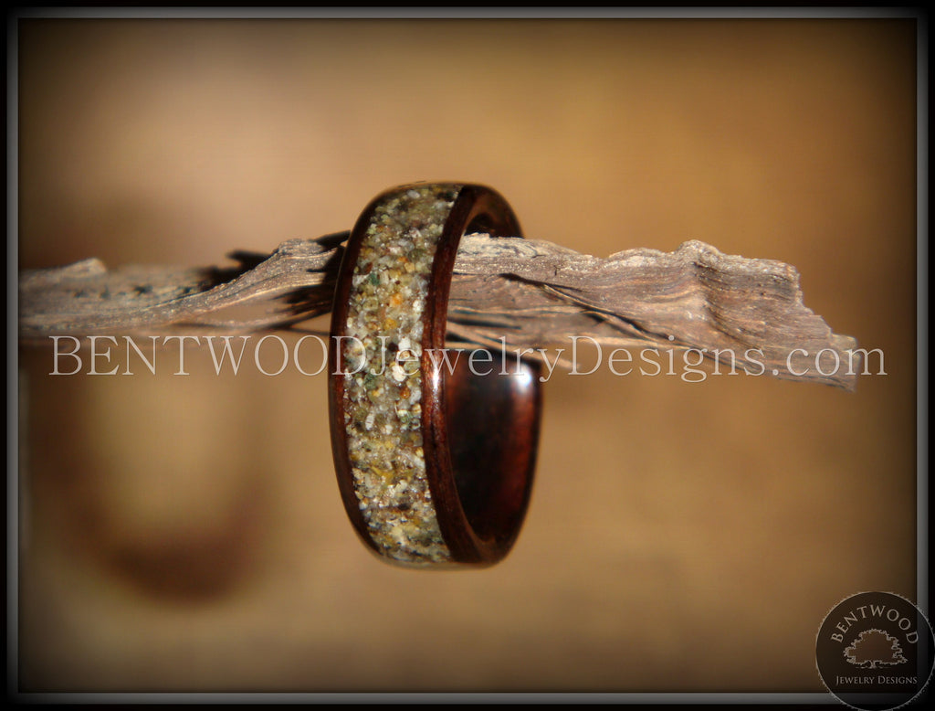 Bentwood Ring - Macassar Ebony Wood Ring with Canadian Beach Sand Inlay - Bentwood Jewelry Designs - Custom Handcrafted Bentwood Wood Rings  - 1