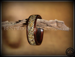 Bentwood Ring - Macassar Ebony Wood Ring with Canadian Beach Sand Inlay - Bentwood Jewelry Designs - Custom Handcrafted Bentwood Wood Rings