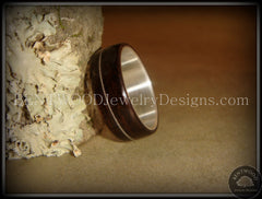Bentwood Ring - Ebony Wood Ring with Wide Fine Silver Core and Thin Silver Guitar String Inlay handcrafted bentwood wooden rings wood wedding ring engagement