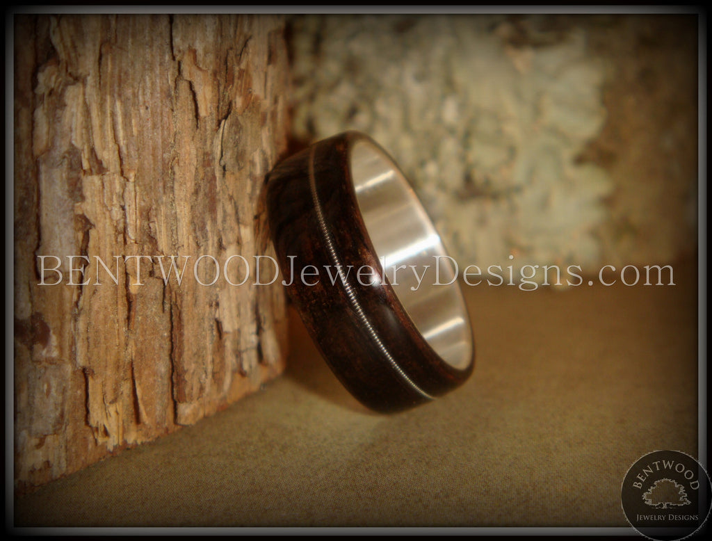 Bentwood Ring - Ebony Wood Ring with Wide Fine Silver Core and Thin Silver Guitar String Inlay - Bentwood Jewelry Designs - Custom Handcrafted Bentwood Wood Rings