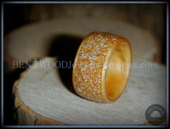 "Bentwood Ring - ""Caramel"" Olivewood Wood Ring with Crushed Gold Glass Inlay handcrafted bentwood wooden rings wood wedding ring engagement"
