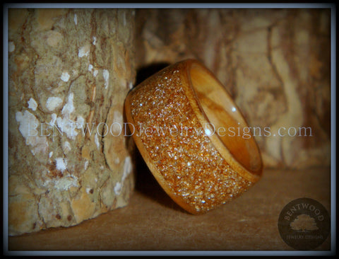 "Bentwood Ring - ""Caramel"" Olivewood Wood Ring with Crushed Gold Glass Inlay"