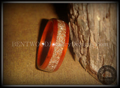 Bentwood Ring - African Padauk Wood Ring with German Silver and Copper Glass Inlay - Bentwood Jewelry Designs - Custom Handcrafted Bentwood Wood Rings