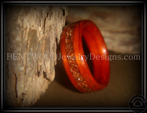 Bentwood Ring - African padauk wood ring with German copper and amber glass inlay