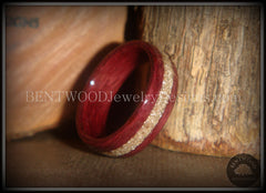 Bentwood Ring - Purpleheart Wood Ring with German Silver Glass Inlay - Bentwood Jewelry Designs - Custom Handcrafted Bentwood Wood Rings