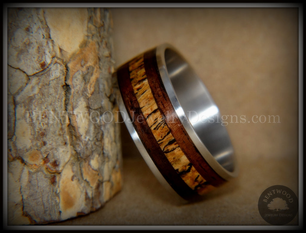 "Bentwood Ring - ""New Growth"" Amazon Rosewood Spalted Maple Inlay Wood Ring on Titanium Steel Comfort Fit Core"