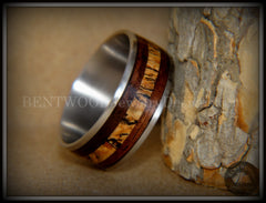 "Bentwood Ring - ""New Growth"" Amazon Rosewood Spalted Maple Inlay Wood Ring on Titanium Steel Comfort Fit Core handcrafted bentwood wooden rings wood wedding ring engagement"