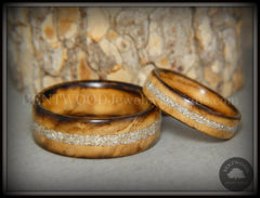 "Bentwood Rings Set - ""Smokies"" Bethlehem Olivewood Wood Ring Set with Pure Glass Inlays"