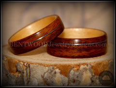 Bentwood Rings Set - S. American Rosewood and N. American Maple with Silver Wire Inlays - Bentwood Jewelry Designs - Custom Handcrafted Bentwood Wood Rings
