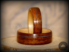 Bentwood Rings Set - S. American Rosewood and N. American Maple with Silver Wire Inlays handcrafted bentwood wooden rings wood wedding ring engagement