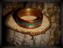 Bentwood Ring - American Walnut Wood Ring and Offset Chrysocolla Stone Inlay - Bentwood Jewelry Designs - Custom Handcrafted Bentwood Wood Rings