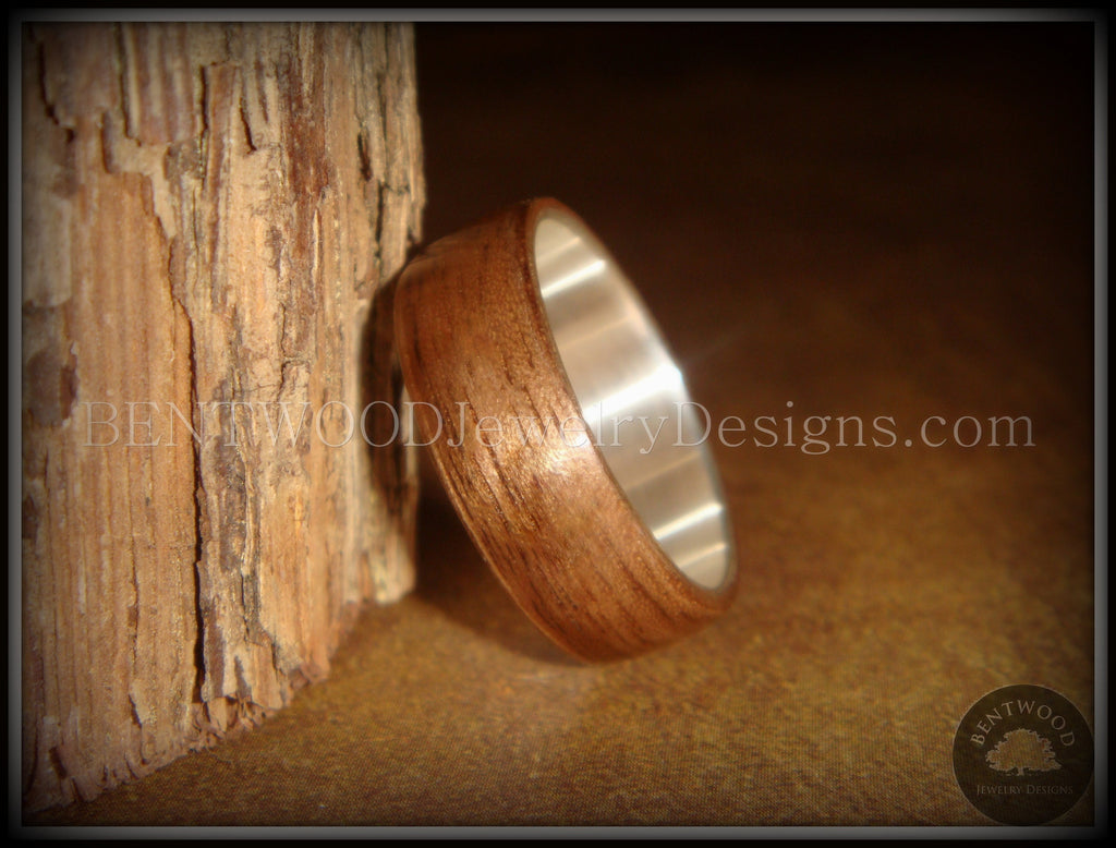 Bentwood Ring - American Walnut Wood Ring with Wide Fine Silver Core - Bentwood Jewelry Designs - Custom Handcrafted Bentwood Wood Rings  - 1