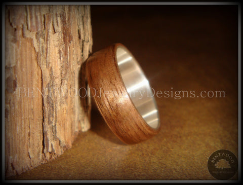 Bentwood Ring - American Walnut Wood Ring with Wide Fine Silver Core