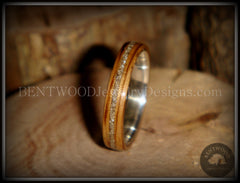 Bentwood Ring - Zebrawood Ring with Fine Silver Core and Silver Glass Inlay - Bentwood Jewelry Designs - Custom Handcrafted Bentwood Wood Rings