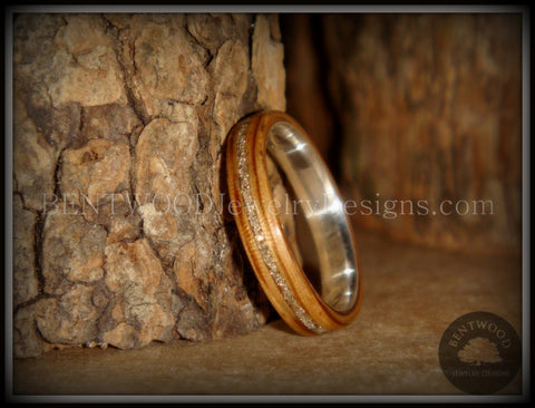 Bentwood Ring - Zebrawood Ring with Fine Silver Core and Silver Glass Inlay
