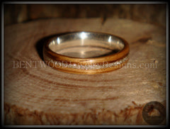 Bentwood Ring - Zebrawood Ring with Fine Silver Core and Silver Glass Inlay handcrafted bentwood wooden rings wood wedding ring engagement