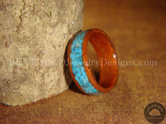 Bentwood Ring - Rosewood Ring with Turquoise Inlay - Bentwood Jewelry Designs - Custom Handcrafted Bentwood Wood Rings