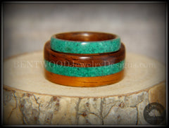 Bentwood Rings Set - Striped Rosewood Wood Rings with Malachite Inlays - Bentwood Jewelry Designs - Custom Handcrafted Bentwood Wood Rings