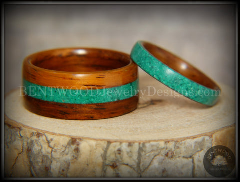 Bentwood Rings Set - Striped Rosewood Wood Rings with Malachite Inlays