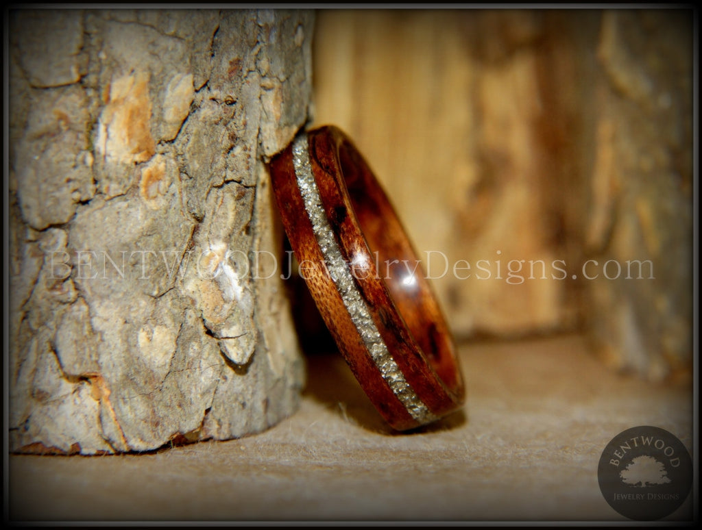 Bentwood Ring - Bubinga Wooden Ring with Silver Glass Inlay - Bentwood Jewelry Designs - Custom Handcrafted Bentwood Wood Rings  - 1