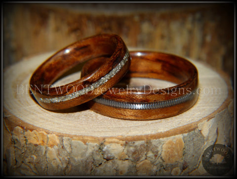 "Bentwood Rings Set - ""Waterfall"" Bubinga Wood Ring Set with Glass Inlay and Guitar String Inlay"