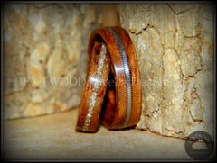 "Bentwood Rings Set - ""Waterfall"" Bubinga Wood Ring Set with Glass Inlay and Guitar String Inlay handcrafted bentwood wooden rings wood wedding ring engagement"