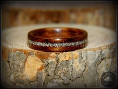 Bentwood Ring - Bubinga Wooden Ring with Silver Glass Inlay - Bentwood Jewelry Designs - Custom Handcrafted Bentwood Wood Rings