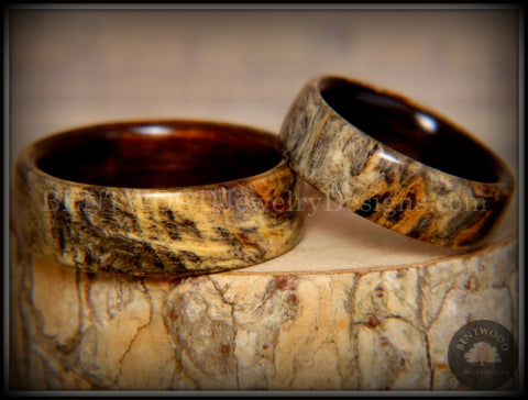 "Bentwood Rings Set - ""Buckeye Pair"" California Buckeye Burl on Ebony Wood Core Set"