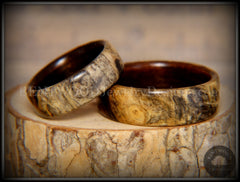 "Bentwood Rings Set - ""Buckeye Pair"" California Buckeye Burl on Ebony Wood Core Set - Bentwood Jewelry Designs - Custom Handcrafted Bentwood Wood Rings"