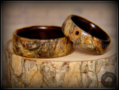 "Bentwood Rings Set - ""Buckeye Pair"" California Buckeye Burl on Ebony Wood Core Set handcrafted bentwood wooden rings wood wedding ring engagement"