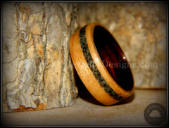 Bentwood Ring - Cherry Wood Ring with Ebony Wood Liner and Offset British Columbia Beach Sand Inlay - Bentwood Jewelry Designs - Custom Handcrafted Bentwood Wood Rings