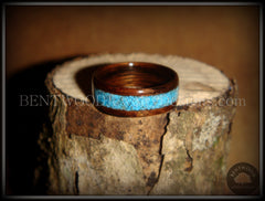 Bentwood Ring - E. Indian Rosewood Ring with Turquoise Inlay - Bentwood Jewelry Designs - Custom Handcrafted Bentwood Wood Rings  - 2