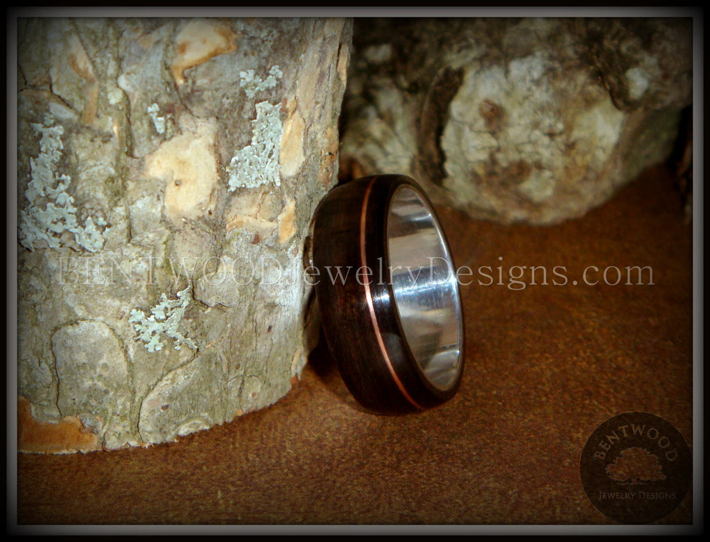Bentwood Ring - Macassar Ebony Wood Ring on Fine Silver Core and Thin Copper Inlay handcrafted bentwood wooden rings wood wedding ring engagement