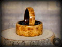 "Bentwood Rings Set - ""Golden Pair"" Gold Amboyna Burl on Ebony Wood Core Set - Bentwood Jewelry Designs - Custom Handcrafted Bentwood Wood Rings - 1"