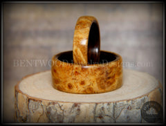 "Bentwood Rings Set - ""Golden Pair"" Gold Amboyna Burl on Ebony Wood Core Set - Bentwood Jewelry Designs - Custom Handcrafted Bentwood Wood Rings - 2"