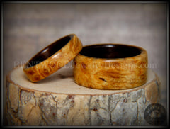 "Bentwood Rings Set - ""Golden Pair"" Gold Amboyna Burl on Ebony Wood Core Set - Bentwood Jewelry Designs - Custom Handcrafted Bentwood Wood Rings"