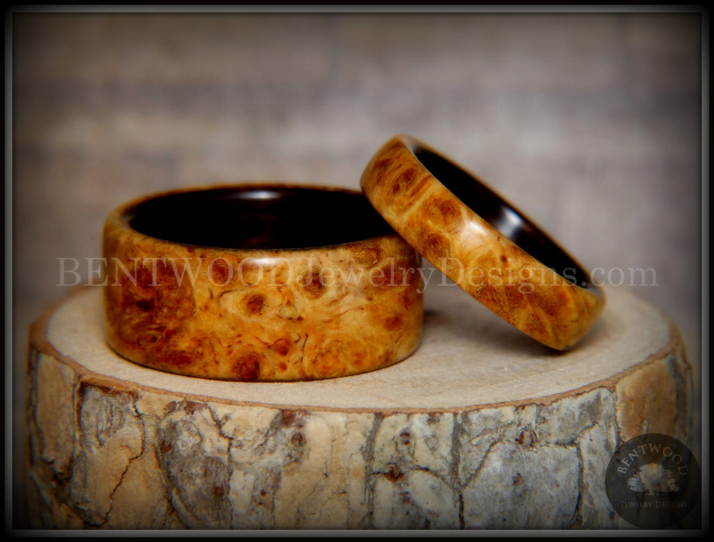 "Bentwood Rings Set - ""Golden Pair"" Gold Amboyna Burl on Ebony Wood Core Set handcrafted bentwood wooden rings wood wedding ring engagement"